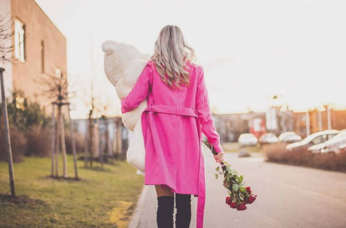 Girl in bright pink clothes