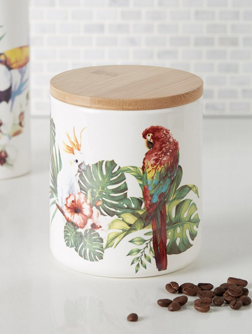 Exotic-bird-decorative-jar
